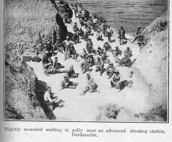 Slightly wounded waiting in gully near an advanced dressing station, Dardanelles.